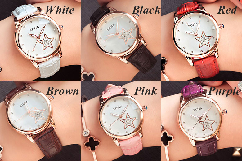Luminous Quartz Cortical Star Cute Diamond Waterproof Women Wrist Watch