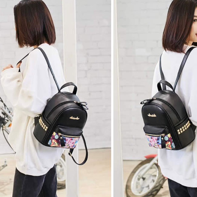 Cute Cartoon Graffiti Rivet School Bag Student Backpack