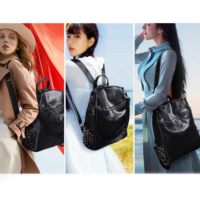 Punk Square Large Multifunction School Backpack Girl's Black PU Rivets Shoulder Bag Travel Backpack