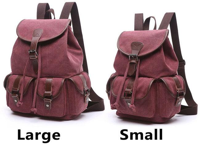 Retro Draw String Flap School Bag Belt Metal Lock Large Canvas Travel Backpacks