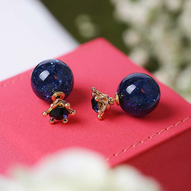 Sweet Deep Blue Ice Crystal Ball Crown Dual-purpose Round Earring Studs