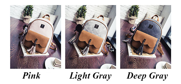 Retro Contrast Color Frosted Girl's Bag Tassel Splicing School Backpack
