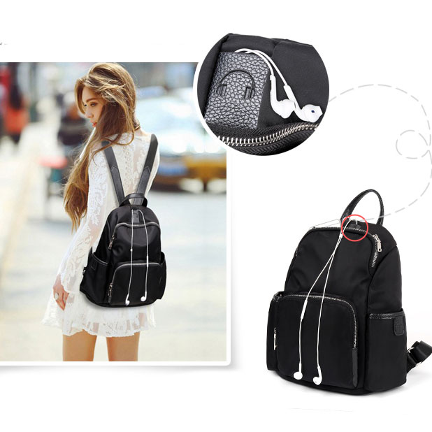 Simple Girl's Waterproof Oxford Splicing PU School Backpack Headphones Hole Travel Backpack