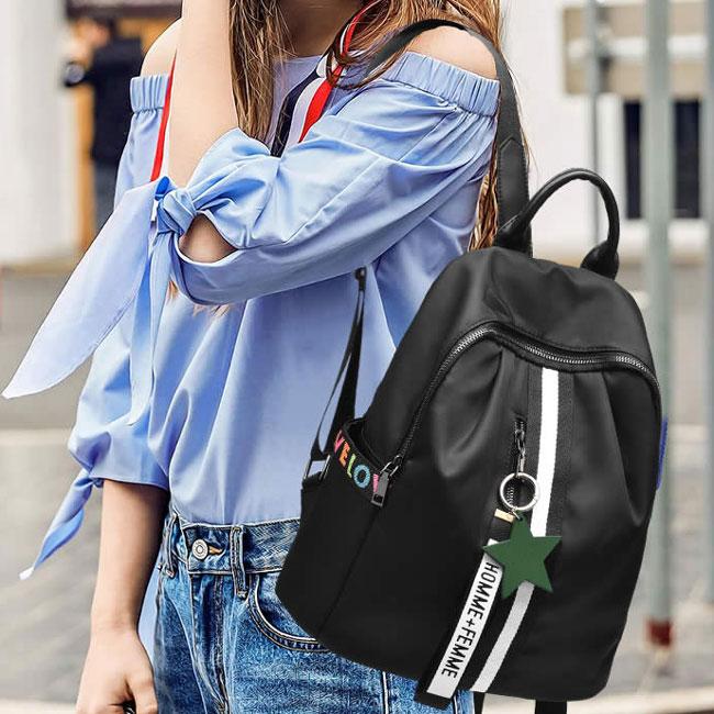 Fashion Black White Stripe Oxford School Star Decor Backpack