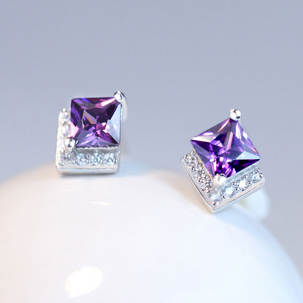 Purple Zircon Crystal Encrusted 925 Silver Ear Stud