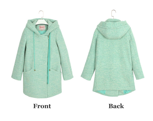 Thick College Side Zipper Hooded Wool Coat