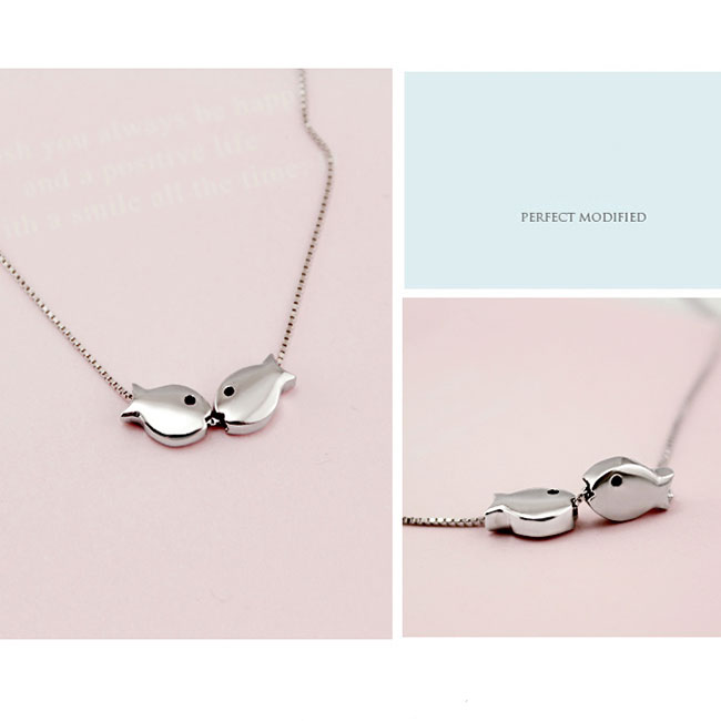 Romantic Kissing-fishes Polished Pendant Silver Animal Double Fish Necklace