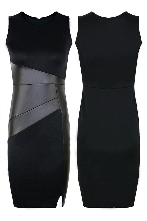 Leather Stitching Bodycon OL Black  Dress