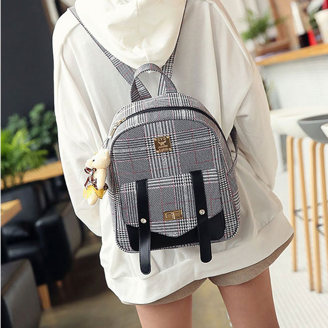 Unique Lines Lingge Double Button Bag Gift Shoulder Bag School Lady Backpack