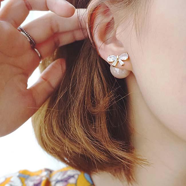 Elegant Diamond-bordered Bow Zircon Pearl Round Dual-purpose Women Earring Studs