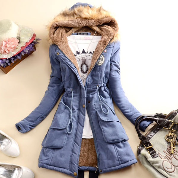 Slim Wool Hooded Long Winter Cotton Coat