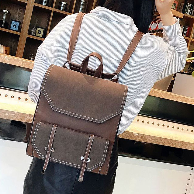 1a17bf624f2c Retro Brown Frosted Flap Belt Square School Bag Lady College Backpack