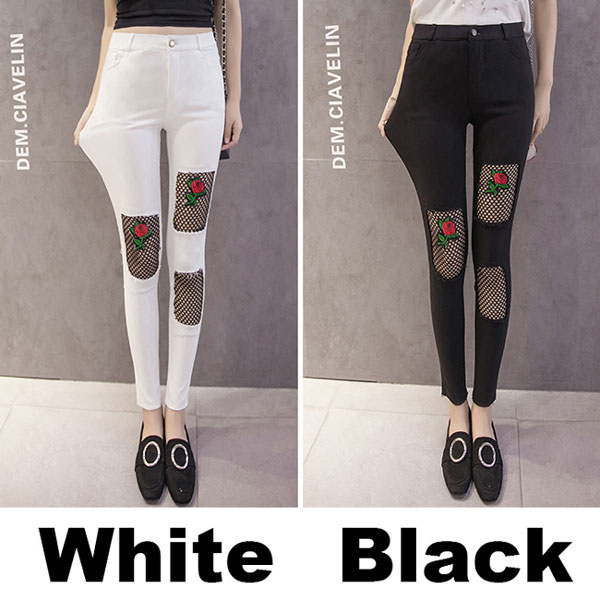 Fashion Rose Embroidery Black Mesh Ripped Stretchy Women's Skinny Ninth Jean Legging