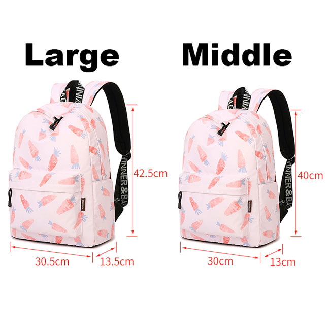 Lovely Canvas Fruit Cute Animal Vegetable Watercolour Carrot Painting Girls School Backpack