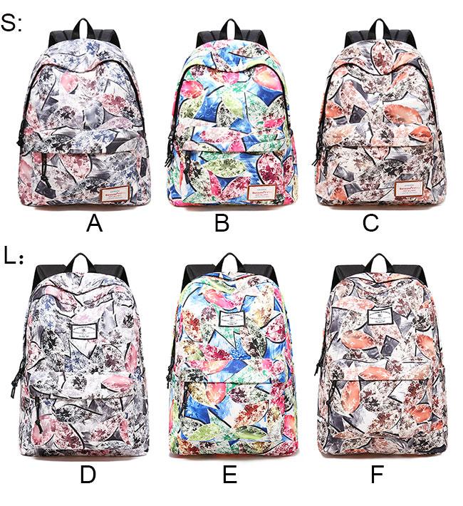 Unique Leaves Print Graffiti Large Student Bag Travel Backpack