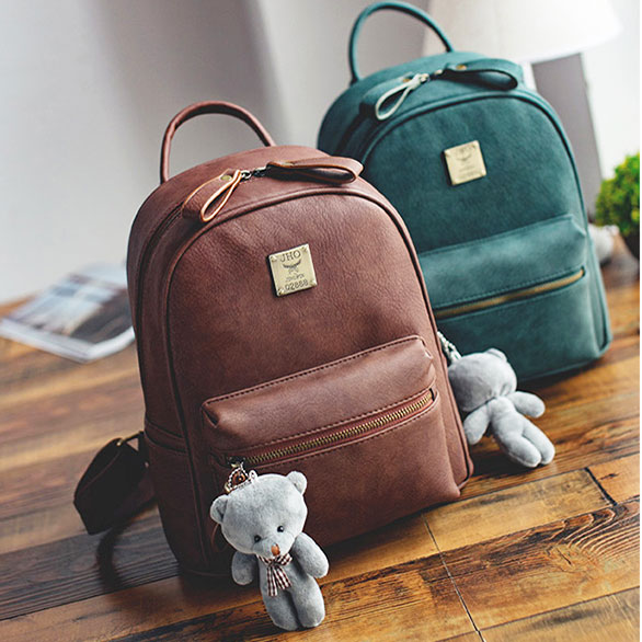 Simple Girl's Frosted PU Lichee Pattern Retro Backpack Bear Doll Pendant Leisure School Backpack