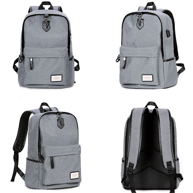 High Quality Canvas Gray Large Capacity Camping Bag USB Interface School Backpacks