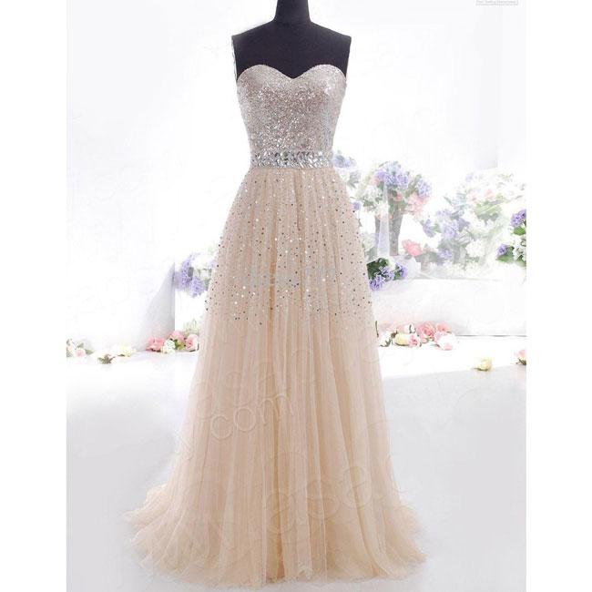 Elegant Women's Chiffon Sequins Tee Dress Formal Long Evening Dress Party Prom Bridesmaid Maxi Dress