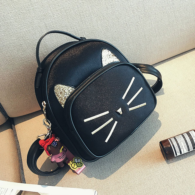 Cute Small Kitten Bag Cat Sequin Women's PU Mini Animal Backpack