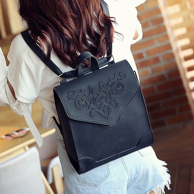 Retro 3D Carved Square British College Student Bag School Backpack