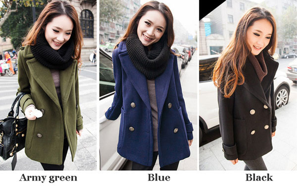 Vintage Button Cloak Women Woolen Coat