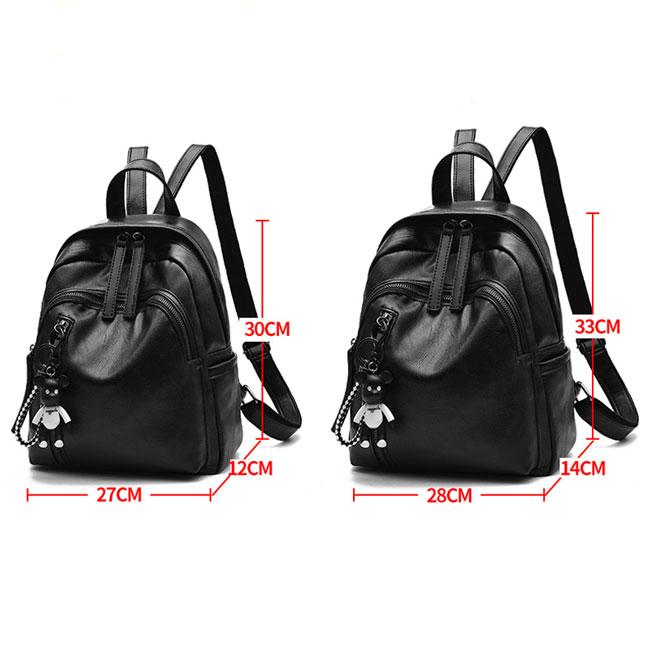 Leisure Girl's Waterproof PU Black Bucket Bag Double Zipper School Backpack Leather Travel Backpack