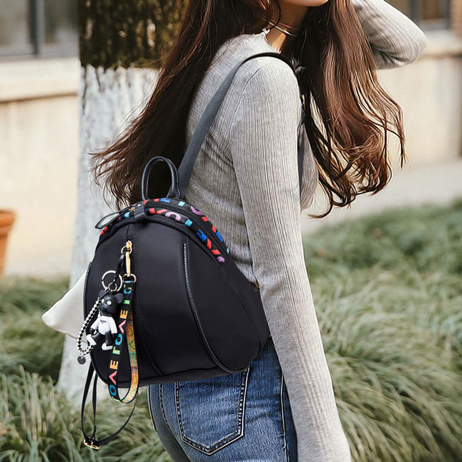 Leisure Pure Black Bear Decor Girl's Oxford Backpack