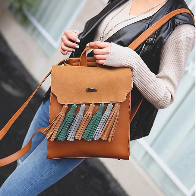 Retro British PU Tassel Contrast Color Flap Solid Backpack