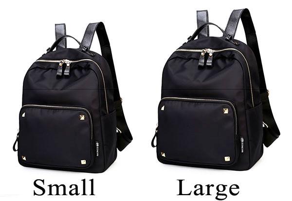 Fashion Simple Nylon Splicing PU Rivets Waterproof School Backpack