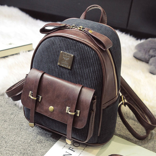 Retro Girl's Corduroy Splicing PU Color Blocking School Backpack Student Backpack
