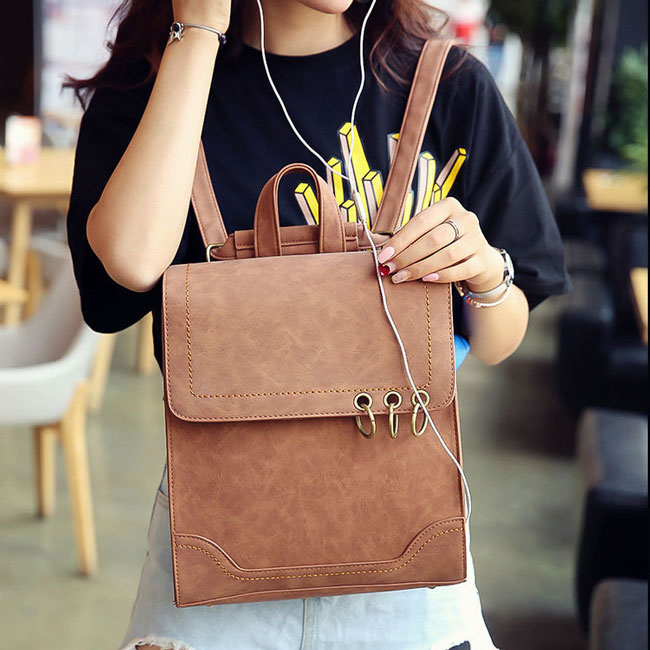 Retro Square Frosted PU Flap Backpack Metal Circular Rings Multifunctional Shoulder Bag Backpack