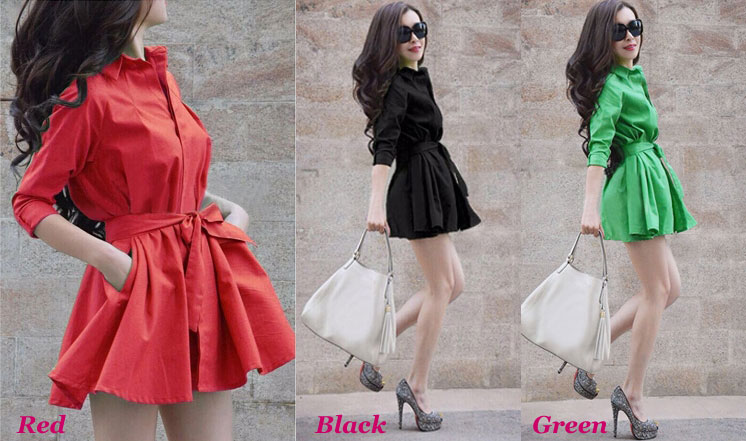 Elegant Pure Color Bow Belt Pleated Dress