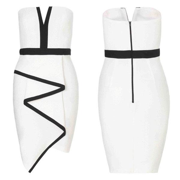 Bodycon Unregelmäßige ärmellosen weißen Abendkleid