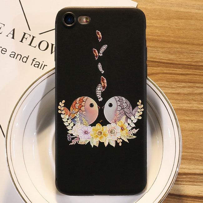 Lovely Couple Birds Cartoon Embossed Iphone 6/6s/6 plus/6s plus/7/7plus/8/8 plus Iphone Case Iphone Cover