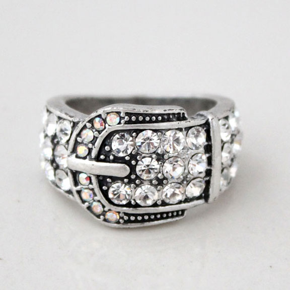 Retro Unique Buckle Pattern Rhinestone Ring