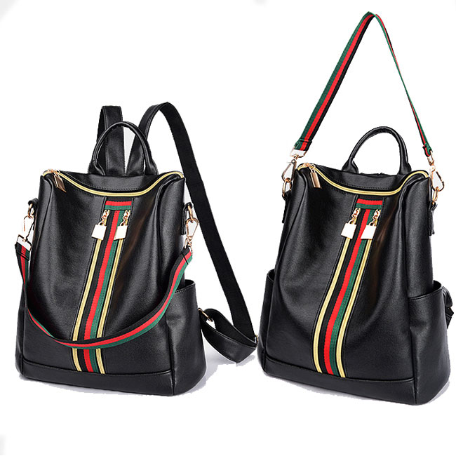Unique Multifunction Handbag Shoulder Bag Green Red Stripe Double Zipper Girl's PU School Backpack