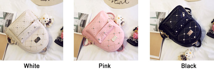 Sweet PU Rivet Girl College Rucksack Quilted School Backpack