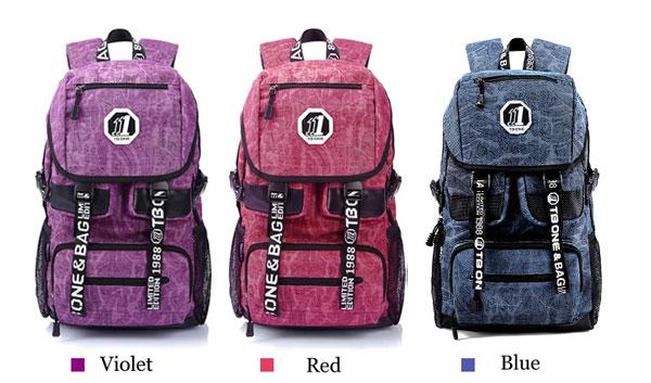 Floral Print Canvas Travel Bag Schoolbag Backpack