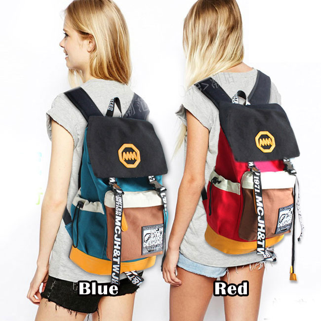 Vintage Fashion Trunk Travel Letters Canvas Backpack