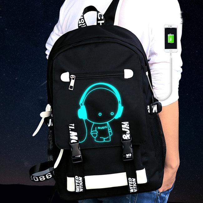 Original Luminous Cartoon Printing USB Interface Fluorescence Travel Backpack Waterproof Oxford Cloth School Backpack