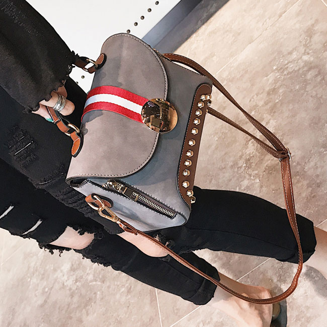 Unique Contrast Color Blocking PU Flap Punk Rivets Frosted Handbag Shoulder Bag