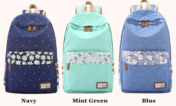 Fresh Polka Dot Mint Green Canvas School Backpacks