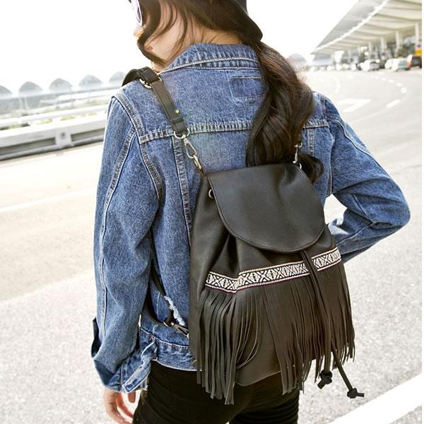 Ethnic Embroidery Tassel Drawstring PU Shoulder Bag Backpack