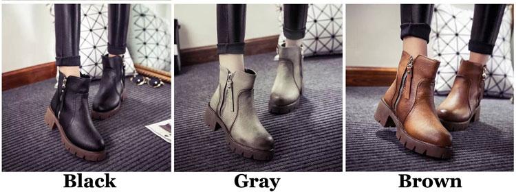 Retro Martin Boots Thick Soles British Style Kitten Heels Short Women Boots