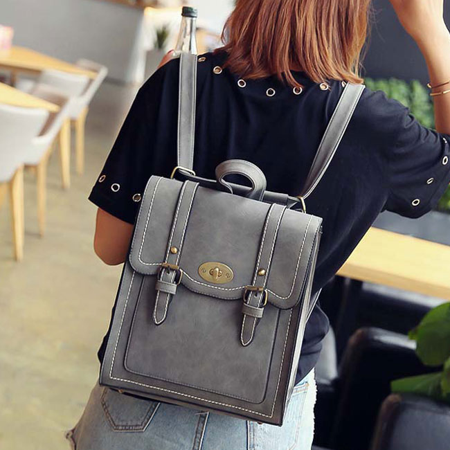 Retro Frosted PU Square Flap Backpack With Belt Double Metal Locks School Shoulder Bag Backpacks