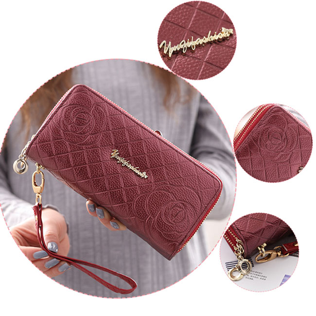 Sweet Girl's PU Rose Embossed Phone Wallet Double-bagged Ziplock Purse Clutch Bag