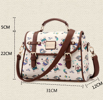 Cute College Cartoon Print Leather Shoulder Bag