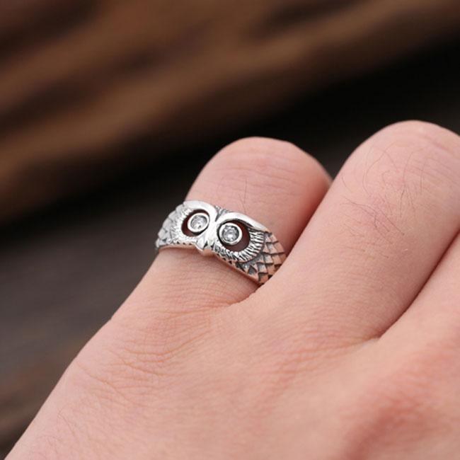Retro Creative Diamond Owl Open Ring Silver Animal Ring