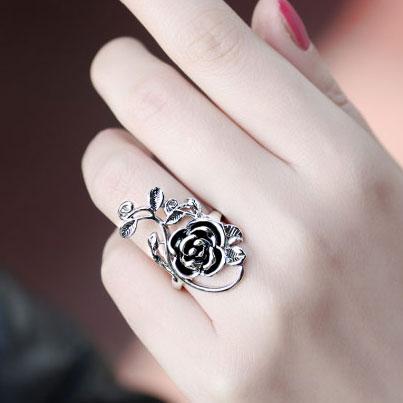 Retro Persönlichkeit Rose Pattern Ring Valentine Gift Mode Ringe