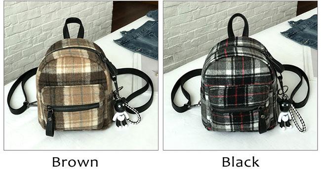 Elegant Student Chic lattice School Bag Women Small Backpack